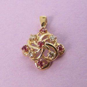 Ruby & Diamond 14KY Gold Pendant